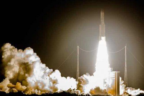 Ariane V launching ArabSat-6B (BADR-7) on launchpad