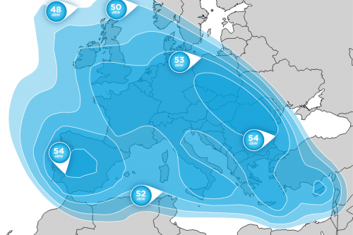 Hellas-Sat 2 Europe Ku-Band footprint