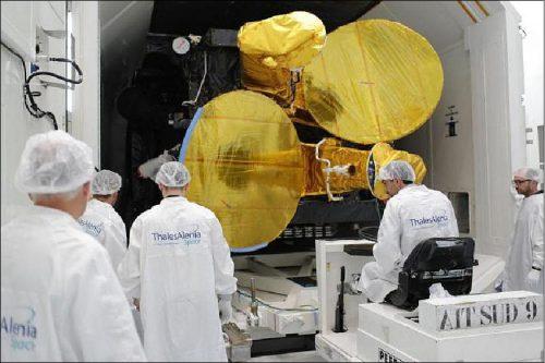 Hellas-Sat 3 satellite under construction by Thales Alenia Space