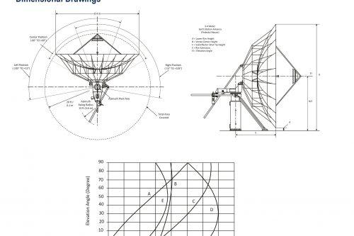 Kratos 9.4m C- & Ku-band (P) Earth Station Antenna dimensional drawings