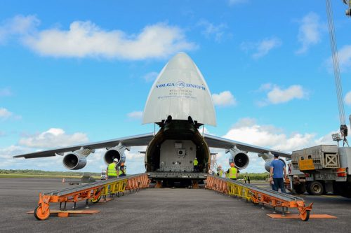 intelsat-37e arrives in Kourou for launch by Arianespace