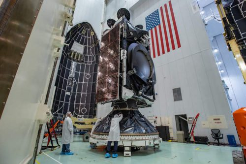 AMOS-17 satellite encapsulated