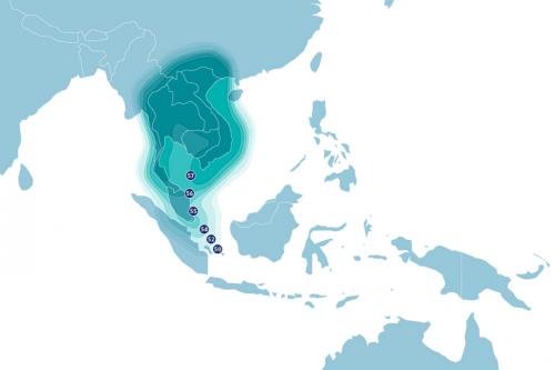 AsiaSat-8 Satellite Footprint Ku-band South-East Asia Beam