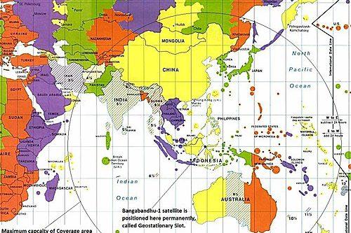 Bangabandhu-1 satellitle position and Coverage