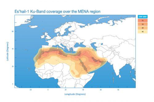 Es'hail-1 Ku-band coverage MENA region