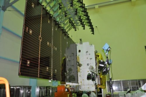 GSAT-18 undergoing solar panel deployment