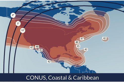 Telesat Telstar-14R Satellite Footprint CONUS, Coastal & Caribbean