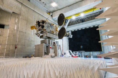 telkom-3S satellite in anechoic chamber at Thales Alenia Space