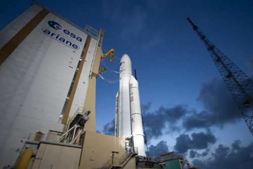 Ariane 5 launch vehicle on launch pad