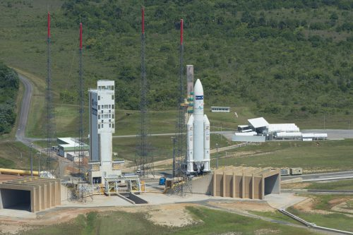 Ariane 5 with Nilesat-201 on launch pad