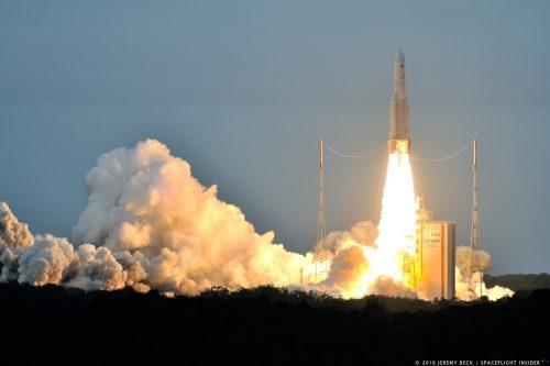 Ariane 5 launching GSAT-17 & Hellas-Sat 3