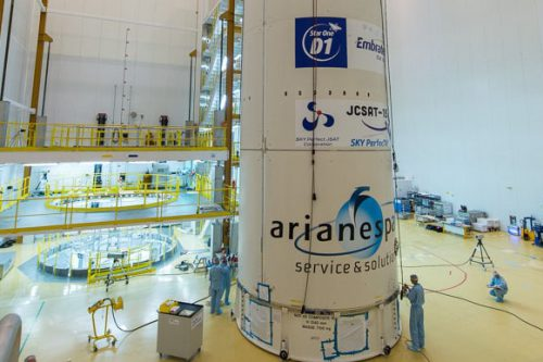 Ariane 5 preparing for launch Star One D1 and JCSAT 15