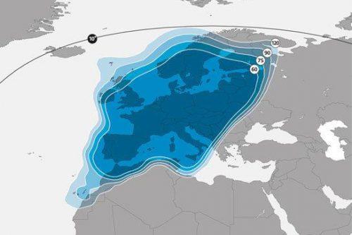 Astra 2C satellite footprint