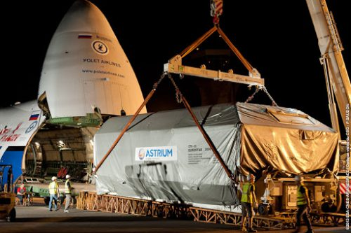 Astra-5B arrives at Arianespace in French Guiana