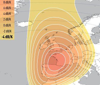 E5WA Ku-Band Spot1 (Western Europe) Uplink Coverage