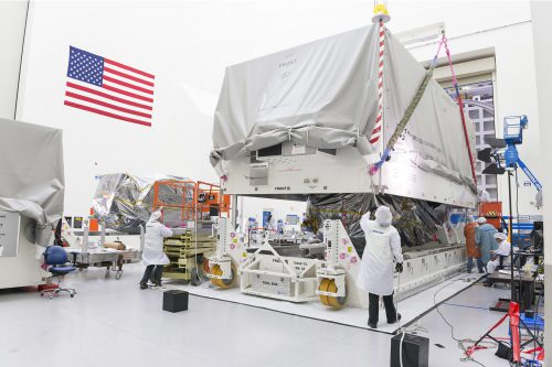 EUTELSAT 115 West B preparation for shipment in transport container