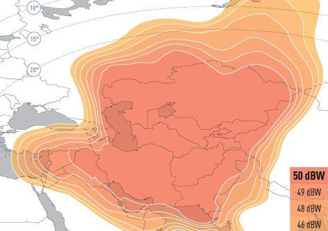 EUTELSAT 70B Ku-band Central Asia Downlink Coverage