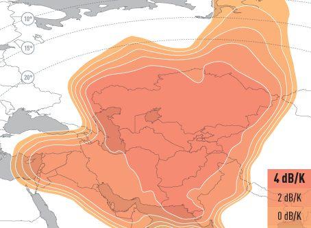 EUTELSAT 70B Ku-band Central Asia Upllink Coverage