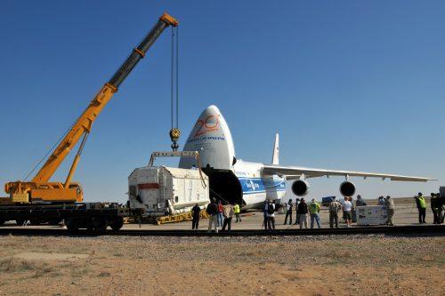 Eutelsat 7B spacecraft at the Baikonur cosmodrome