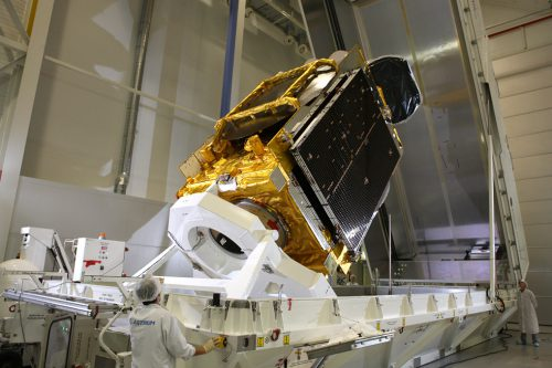 EUTELSAT 7WA being loaded into the container
