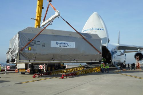 Anik F1R satellite shipment at Toulouse airport