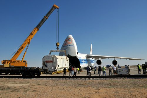Eutelsat W3A spacecraft at the Baikonur cosmodrome