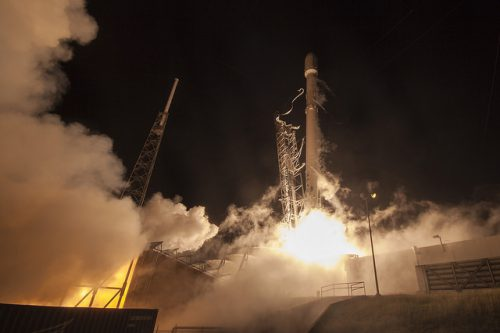Falcon 9 rocket launching EchoStar-23 satellite