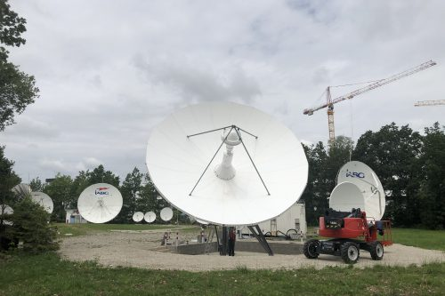 Andrew 9.3m Antenna ready for operation