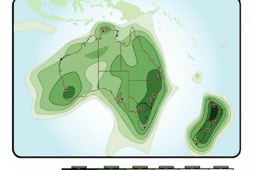 Optus D1 Australia & New Zealand Footprints Ku-band (dBW)