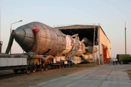 Proton M rocket with JCSAT-11 moving to launch pad