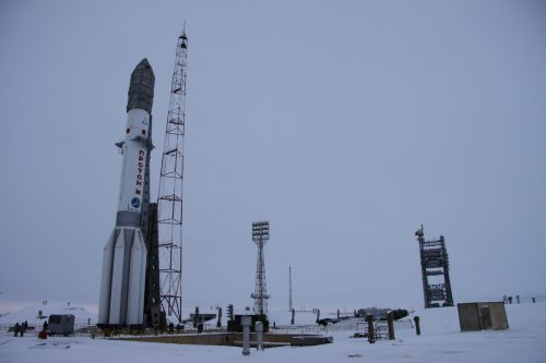 Proton M rocket with SES-4 ready to launch