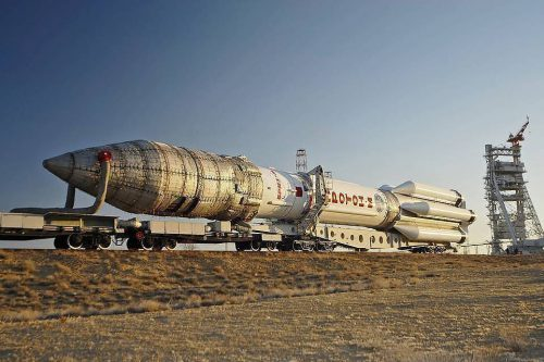 Proton-M rocket with QuetzSat-1 moved to launch pad