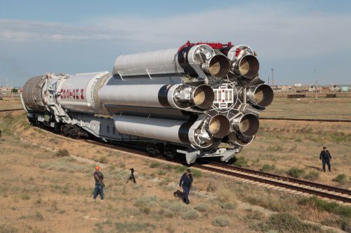 Proton rocket moving to launch site