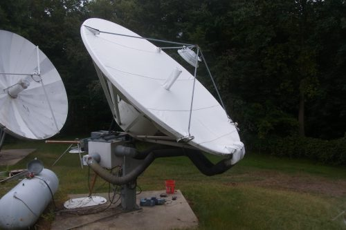 Andrew 4.6m antenna with de-ice shield.