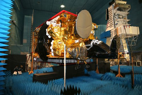 SES-14 satellite in anechoic chamber for test