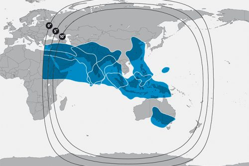 SES 9 (108.2E) footprint South Asia & Middle-East