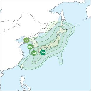 Superbird-B3 footprint Japan EIRP