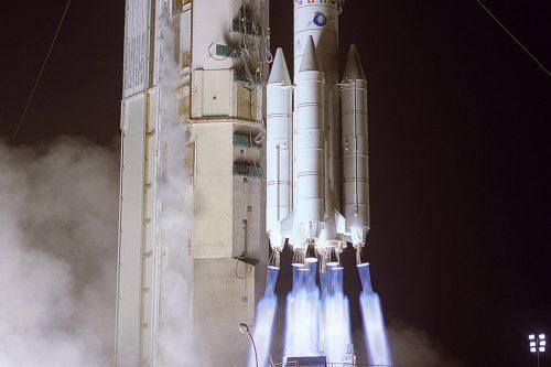 Ariane 44LP rocket launching Anik F1