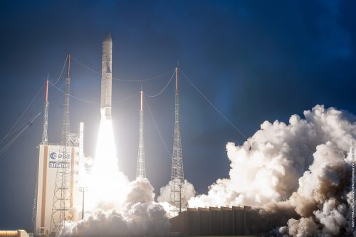 Ariane 5ECA lifts off with Spaceway 2 & Telkom-2