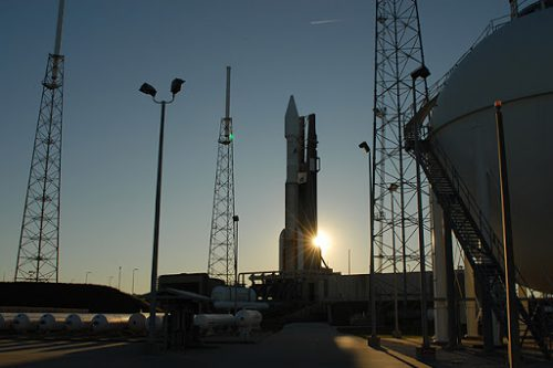 Atlas V rocket with Intelsat-14 redy for launch