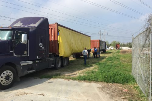 Five trucks dropped off containers to load the 16.4m antenna.