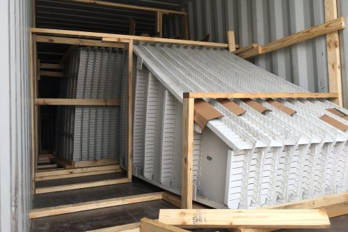 A dedicated container was used to load 84 panel sections.