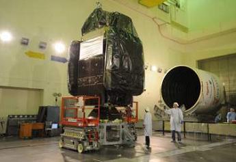 Spaceway 3 satellite in orbit prepared for launch