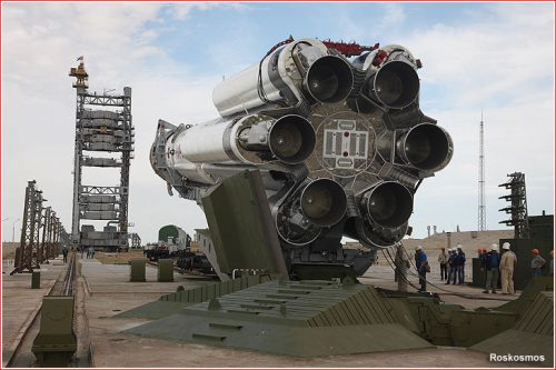 Anik AG1 on Proton M rocket moving to launch site