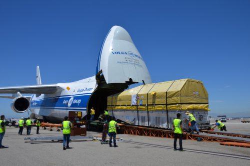Intelsat IS-33e loading in Antonov freighter
