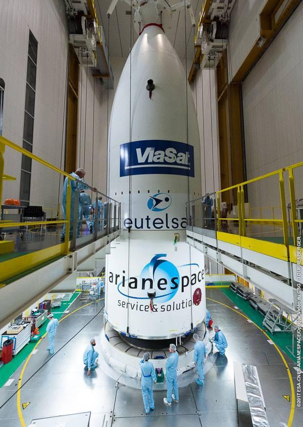 Viasat & Eutelsat satellites encapsulated at Arianespace