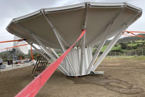 Andrew 5.6m & VertexRSI 6.3m antenna installed